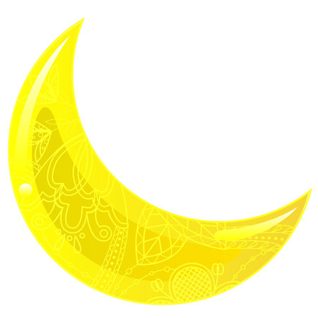 crescent: Vector isolated glass yellow crescent Illustration