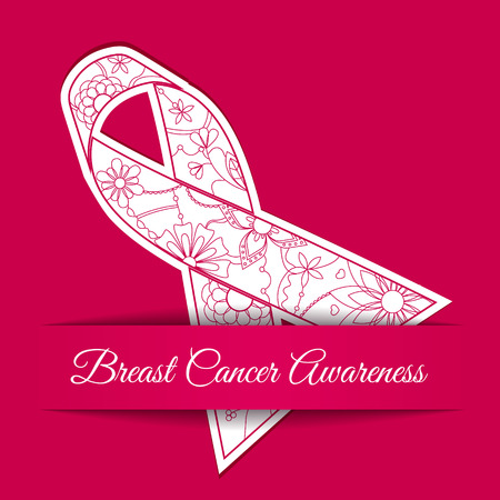 Vector breast cancer awareness background with pink ribbon