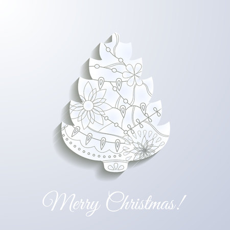 Vector merry Christmas white paper card with applique tree Illustration