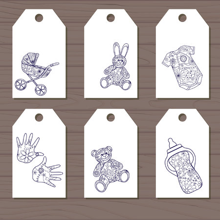 baby goods: Vector set of simple baby goods tags