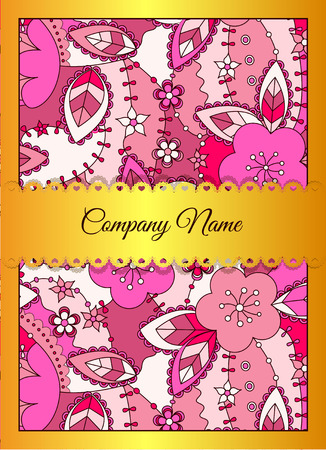 golden apple: Vector floral business card