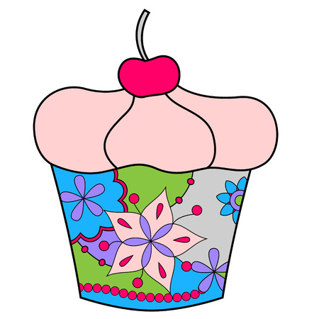 Vector cupcake colorful Illustration