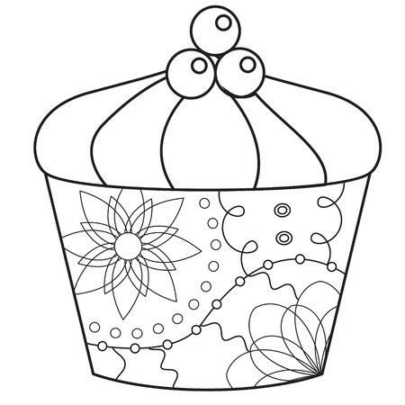 sweetest: Vector cupcake coloring