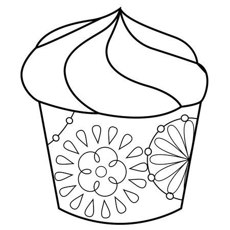 Vector cupcake coloring