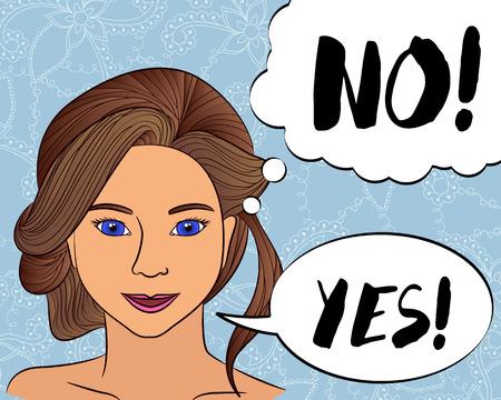 vector girl think no say yes
