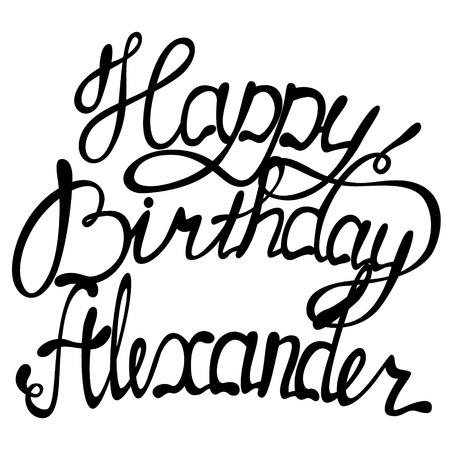 Vector happy birthday Alexander lettering Stock Vector - 63309356
