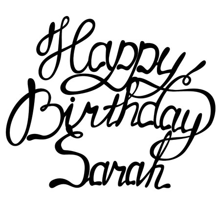 Vector happy birthday Sarah lettering