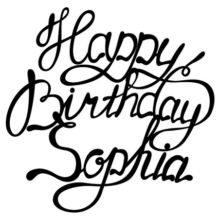 Vector happy birthday Sophia lettering Illustration