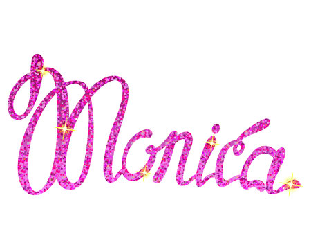 Vector Monica name lettering tinsels Illustration