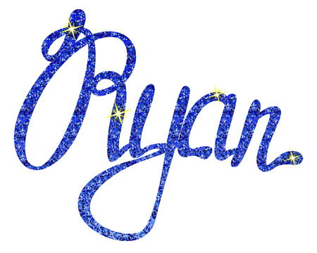 Vector Ryan name lettering tinsels Illustration