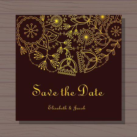 Vector wedding invitation on wooden background