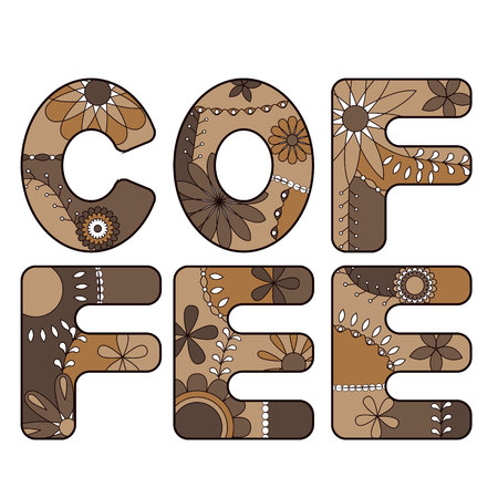 Vector coffee word brown Illustration