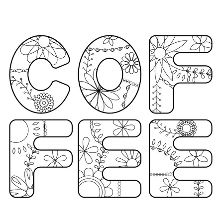 Vector coffee word coloring Illustration