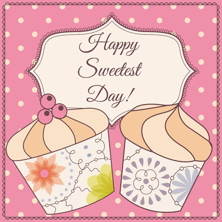 sweetest: Vector Happy sweetest day card with cupcake vintage