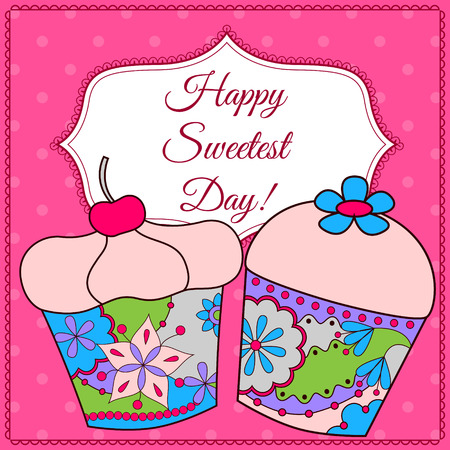 sweetest: Vector Happy sweetest day card with cupcake