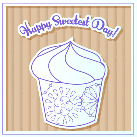Vector Happy sweetest day card with cupcake on cardboard