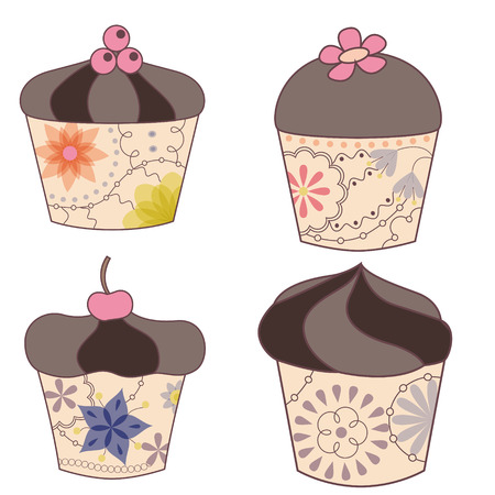 Vector set of chocolate cupcakes vintage