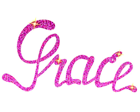 Vector Grace name lettering tinsels Illustration