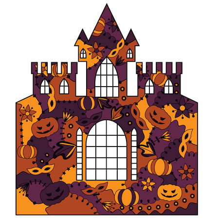 silhouette, stencil, template halloween castle colorful
