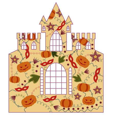 silhouette, stencil, template halloween castle retro Illustration