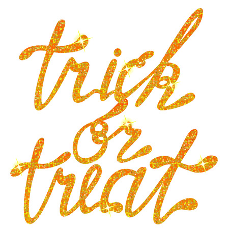 trick: Vector lettering trick or treat tinsels