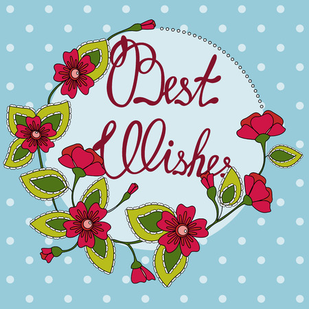 best wishes: Vector best wishes lettering on floral card