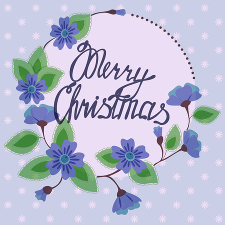best wishes: Vector merry christmas lettering on floral card vintage