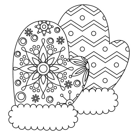 mittens: Vector mittens coloring