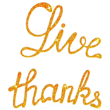 give: Vector give thanks lettering tinsels Illustration