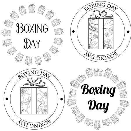 boxing day: Vector boxing day stamps, tags Illustration
