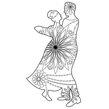 waltz: Vector waltz silhouette coloring
