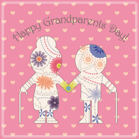 grandparent: Vector happy grandparent day card Illustration