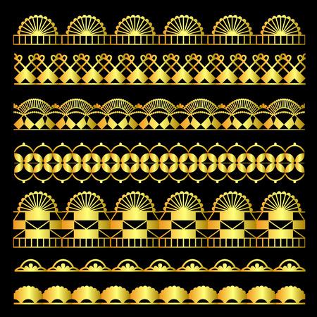 devider: Vector golden set of lace ribbons Illustration
