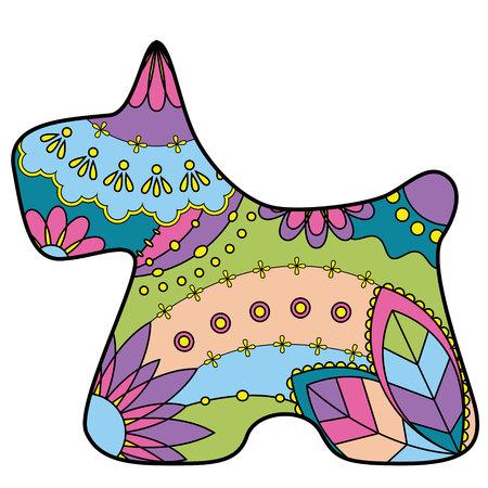 scottish terrier: Vector scottish terrier colorful silhouette