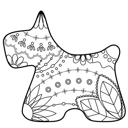 Vector scottish terrier coloring silhouette