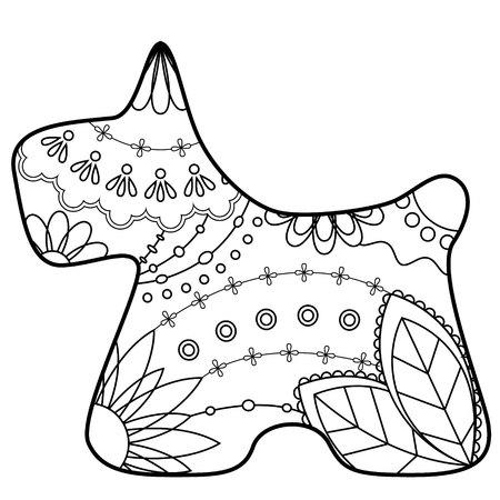 scottish terrier: Vector scottish terrier coloring silhouette