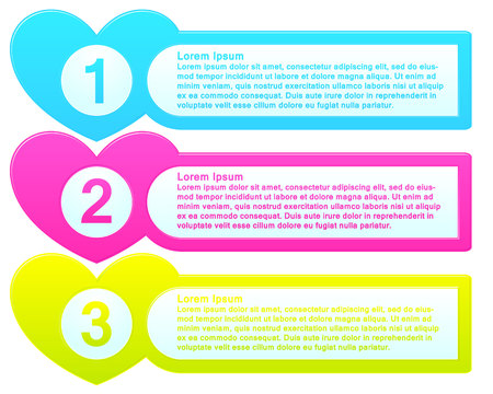 Vector infographic template colorful list with numbers in hearts Illustration