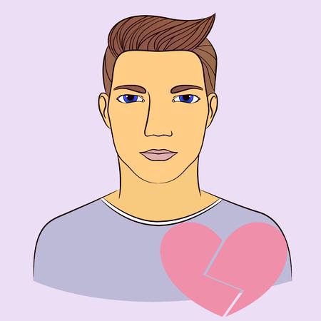 Vecto man with broken heart infographics