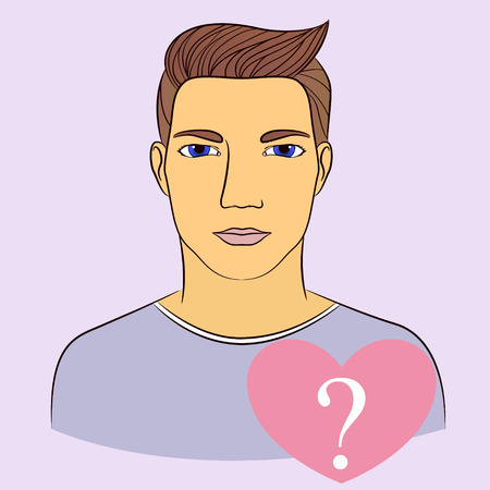 monogamous: Vecto man with question in heart infographics
