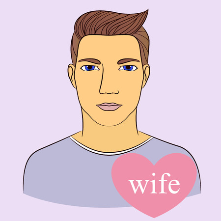 monogamous: Vecto man with wife in heart infographics Illustration