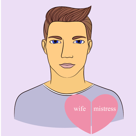 mistress: Vecto man with wife and mistress in heart infographics