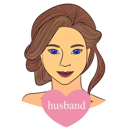 monogamous: Vecto girl with husband in heart infographics