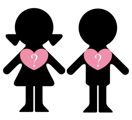 polygamy: Vector boy and girl with questions in hearts infographics element Illustration