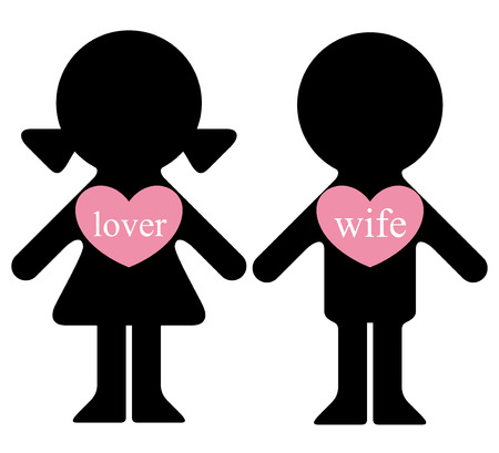 polygamy: Vector boy and girl with lovers in hearts infographics element