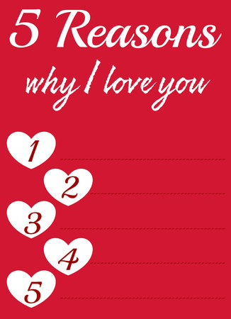 reasons: Vector card with empty space for love reasons