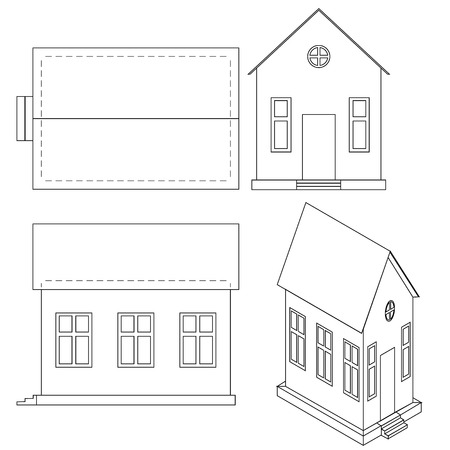 ide: Vector drawing of house with perspective view