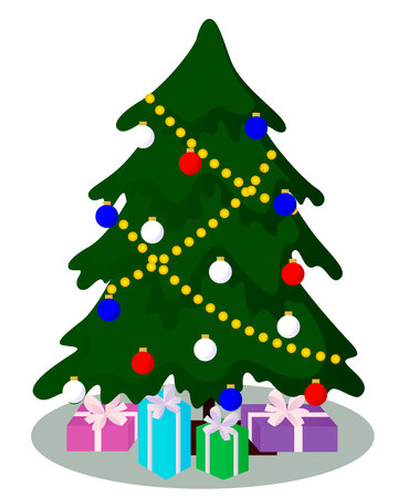 decorated Christmas tree with gifts vector illustration isolated on white