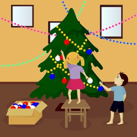 Children decorate Christmas tree vector illustration Illustration
