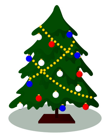 decorated Christmas tree vector illustration isolated on white