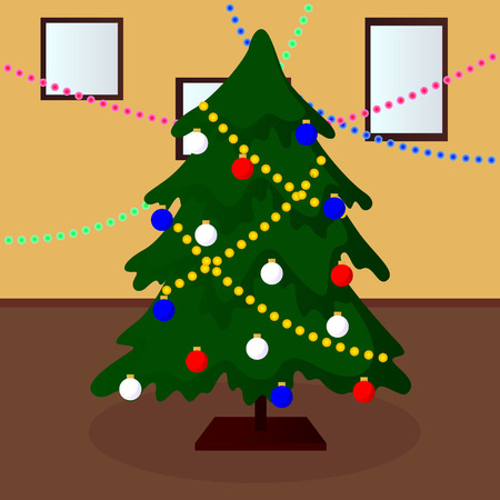 harland: decorated Christmas tree vector illustration